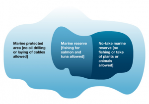 Hypothetical example of a marine protected area, a marine reserve, and a no-take marine reserve. Source: Pacific Fishery Management Council (www.pcouncil.org)