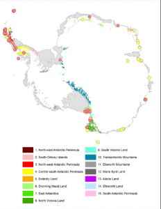 Map of ASPAs. Red circles denote vegetation specific ASPAs, yellow are ASPAs not included in this study (Hughes et al., 2015).