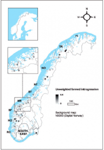 Map of Norway showing rivers with farmed genetic introgression (Karlsson et al. 2016).