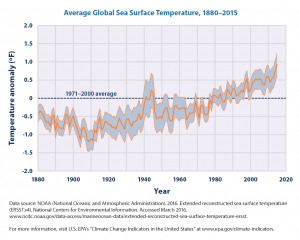 Temperature anomaly of average global sea surface temperature from 1880-2015.  This increased warming trend is predicted to continue and proceed to facilitate the lionfish invasion into regions further north and south of the equator. Figure source: United States Environmental Protection Agency (https://www.epa.gov/climate-indicators/climate-change-indicators-sea-surface-temperature)