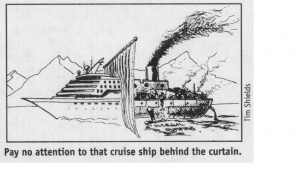 "A cartoon of a cruise ship with a ""double side"". On the front of the ship is what everyone sees; on the back of the ships is everything most people fail to see, including a lot of the pollution that results from cruise ships."