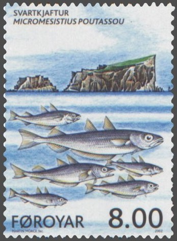 Blue whiting featured on a stamp of the Faroe Islands. Wikimedia commons