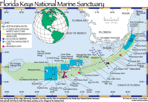 Map of the Florida Keys National Marine Sanctuary showing the different management areas. Photo: http://www.flmnh.ufl.edu/fish/southflorida/coral/conservation.html