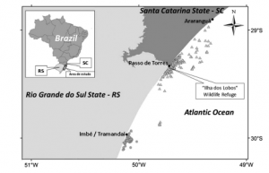 Study area showing two fishing harbors (Imbé and Passo de Torres) in Southern Brazil. The gray circles represent fishing operations based out of Imbé and the gray triangles represent fishing operations based out of Passo de Torres. (Machado et al. 2015)
