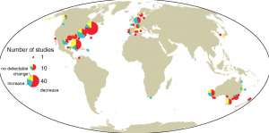 Map showing changing in seagrass area since 1879 at 205 sites along coastlines worldwide (Waycott et al., 2009).