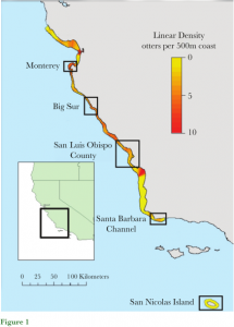Figure 1: This figure shows the 5 sites that data was collected for Southern Sea Otter populations. In these locations, otters were fitted with TDRs and observed for study.