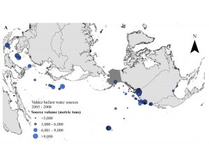 Figure 2A. Valdez, Alaska water ballast water sources from 2005-2008.