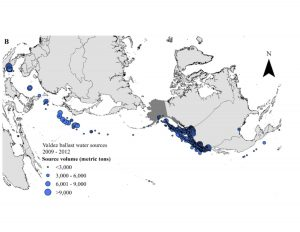 Figure 2B. Valdez, Alaska water ballast water sources from 2009-2012 shows an exponential increase in source volume, primarily due to consequence of exempting a sector.