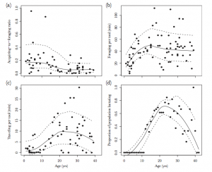 Age specific foraging and lactation. This shows the relationship between age and the three studied variables, as well as its relationship with reproductively active females.