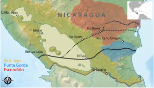 Proposed route (solid line) and alternative routes (dashed lines) of the Nicaragua Canal. The 3 drainage basins involved are San Juan (red), Punta Gorda (blue), and Escondido (yellow). Fish-sampling locations are marked with open diamonds. (Härer et al. 2016)